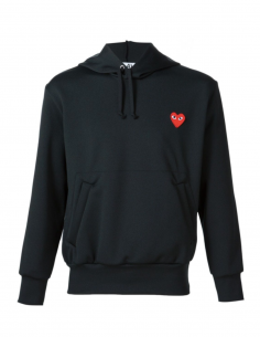CDG PLAY black hoody with red heart patch