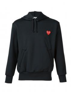 Sweat noir à capuche avec patch coeur rouge COMME DES GARCONS PLAYS