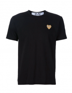 COMME DES GARCONS PLAY - black tee shirt with gold heart logo