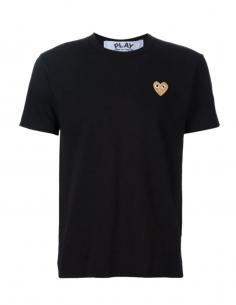 COMME DES GARCONS PLAY tee shirt noir à patch logo coeur doré