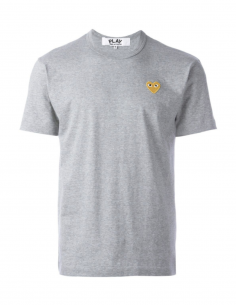 COMME DES GARCONS PLAY grey tee shirt with gold heart logo