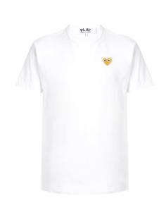 COMME DES GARCONS PLAY tee shirt blanc à patch logo coeur doré
