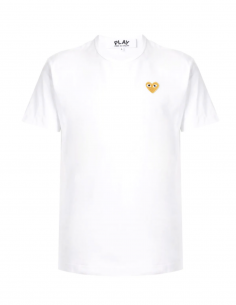 COMME DES GARCONS PLAY white tee shirt with gold heart logo