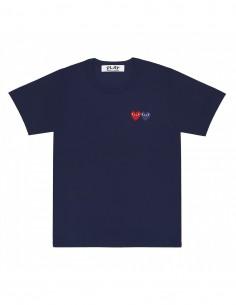 T-shirt bleu marine COMME DES GARCONS PLAY à manches courte avec patch double coeur
