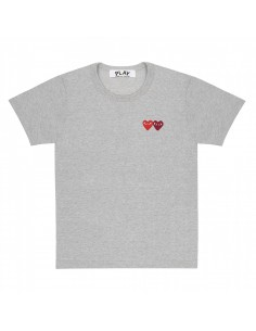COMME DES GARCONS grey tee with double heart patch