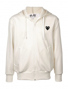 COMME DES GARCONS PLAY cream zip-up hoody with black heart patch