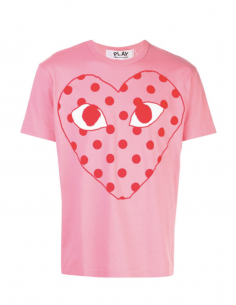 COMME DES GARCONS PLAY pink tee with red dot printed logo
