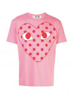 T-shirt rose COMME DES GARCONS PLAY à logo rouge imprimé à pois