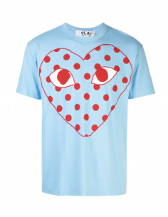 COMME DES GARCONS PLAY blue tee with red dot printed logo