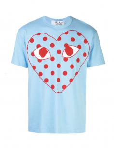 T-shirt bleu COMME DES GARCONS PLAY à logo rouge imprimé à pois