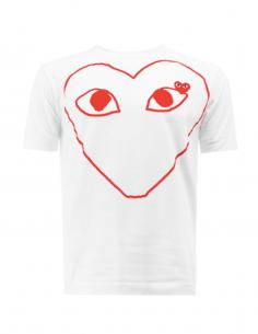 T-shirt blanc COMME DES GARCONS PLAY avec grand coeur rouge imprimé
