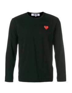 COMME DES GARCONS PLAY black long sleeves tee with red heart logo