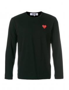 T-shirt noir COMME DES GARCONS PLAY manches longues à patch logo petit coeur rouge
