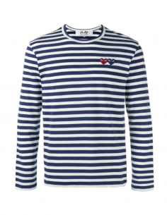 COMMME DES GARCONS PLAY navy striped sailor tee with double red heart logo