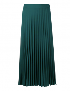 MM6 shiny green pleated skirt