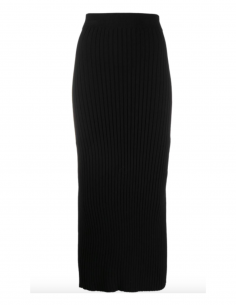 MM6 black rib-knit midi skirt