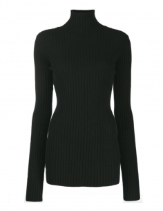 Black ribbed pullover MM6