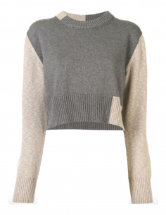 MM6 bicolour grey and beige pullover with round collar