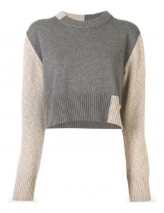 Pull gris et beige bicolore MM6  à col rond