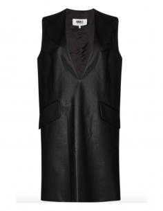 MM6 black plunge neck mini dress