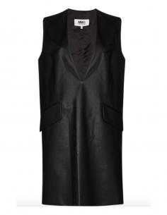 Robe courte noire MM6 sans manches à col v profond pour femme