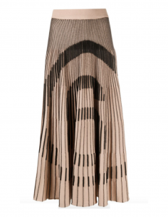 MM6 6 logo pleated beige midi skirt