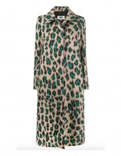 Manteau MM6 beige et vert à impression léopard