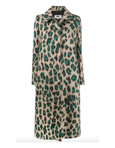 MM6 beige and green leopard print coat