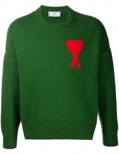 ami paris Pull vert avec avec coeur rouge