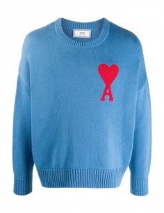 ami paris Blue oversized pullover with red heart