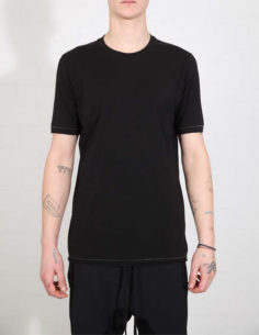 THOM KROM Black tee with contrasting topstitching