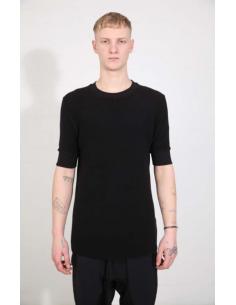T-shirt noir à bords côtelés THOM KROM