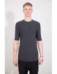 THOM KROM Grey tee with ribbed edges
