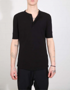 THOM KROM Black polo shirt with white topstitching
