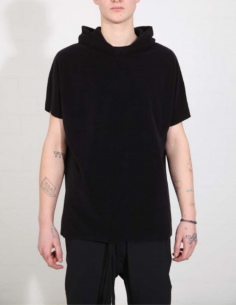 THOM KROM Black hoody with short sleeves