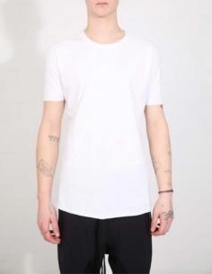 T-shirt blanc à bords francs et surpiqûres noires THOM KROM