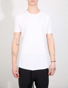 THOM KROM White tee with clean hem and black topstitching