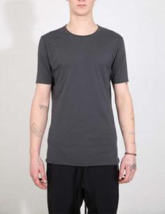 T-shirt gris à bords francs et surpiqûres noires THOM KROM