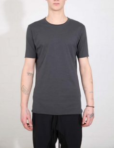 THOM KROM Grey tee with clean hem and black topstitching