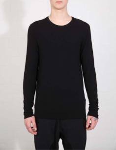 T-shirt manches longues noir côtelé THOM KROM