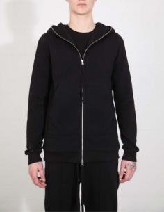 Sweatshirt noir à fermeture zippée THOM KROM
