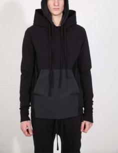 Sweatshirt noir à capuche et poche kangourou THOM KROM