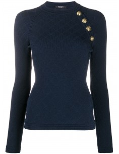 BALMAIN PARIS Openwork-detailed navy pullover for women