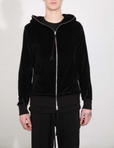 THOM KROM Black velvet zip-up hoddy