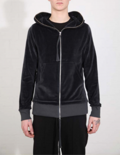 THOM KROM Grey velvet zip-up hoddy