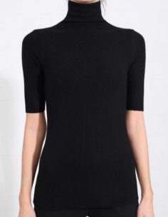 THOM KROM black short sleeves tee with funnel neck