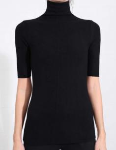 T-shirt noir manches courtes à col cheminée THOM KROM