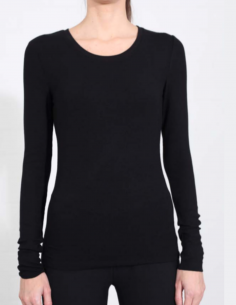 THOM KROM Black long-sleeved tee with round ribbed collar