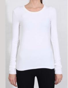 T-shirt blanc manches longues à col rond côtelé THOM KROM