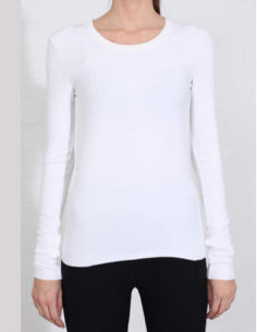 THOM KROM White long-sleeved tee with round ribbed collar